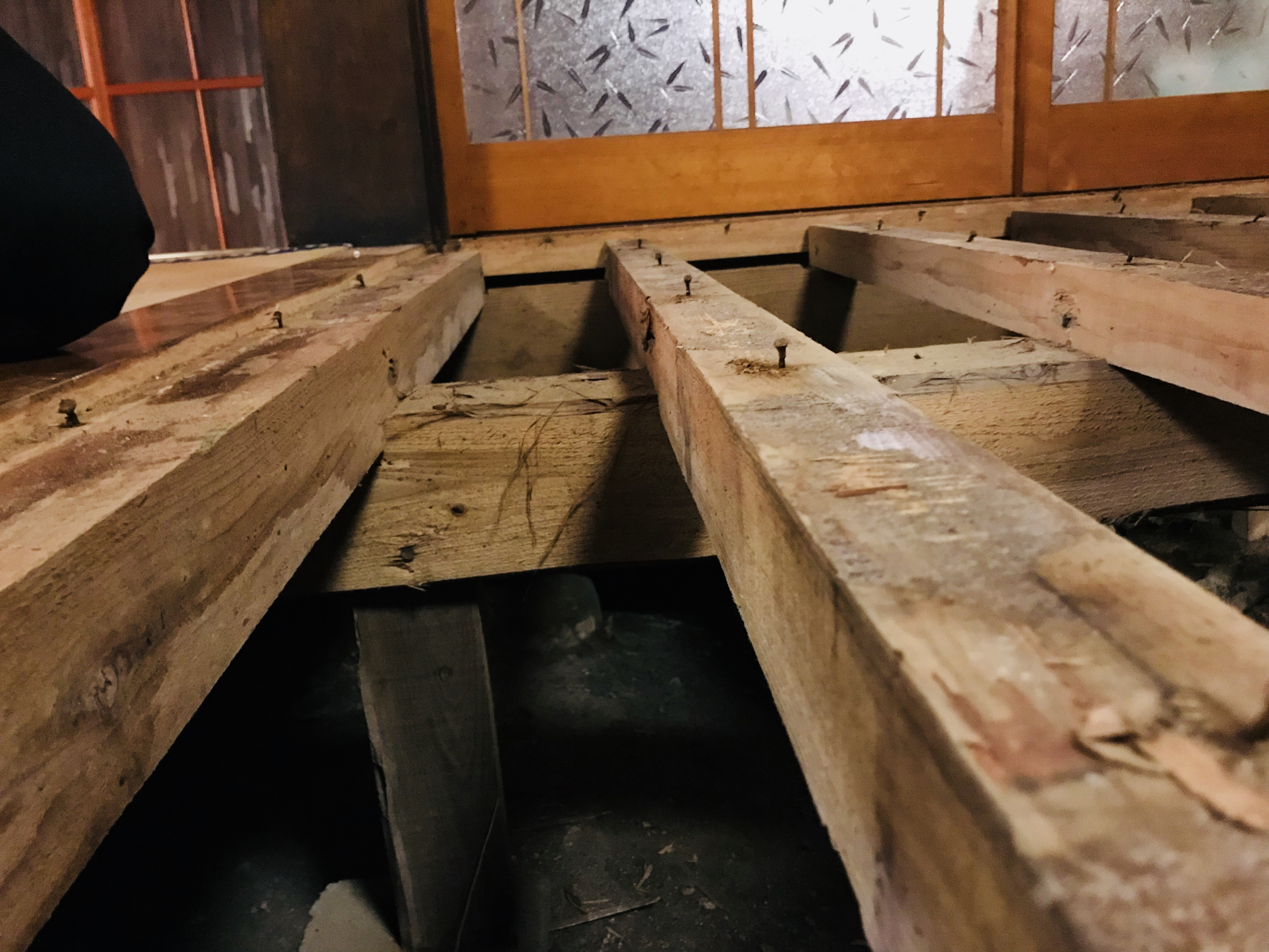 床の解体後の根太の状態
