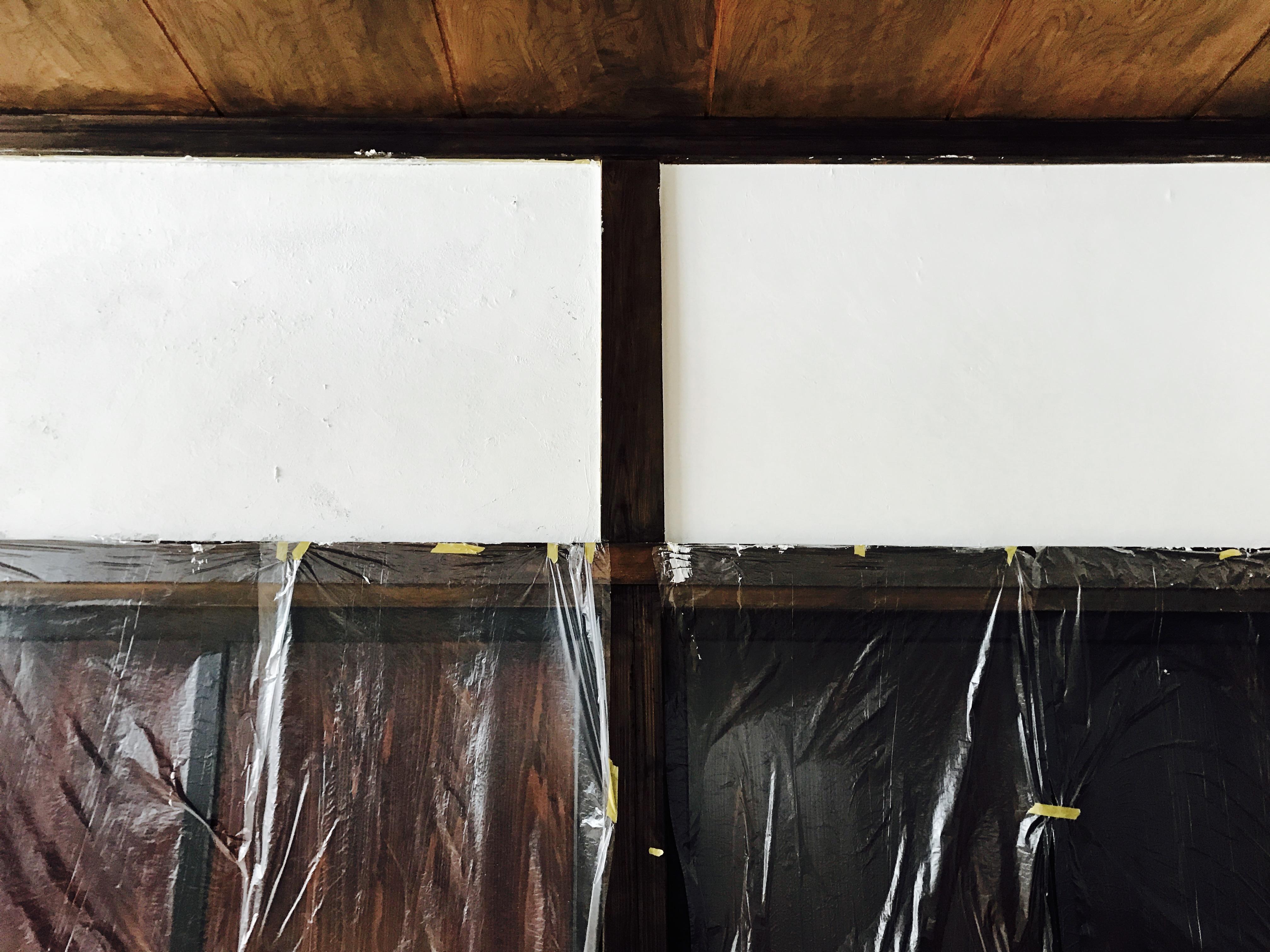 漆喰の1度塗りと2度塗りの比較
