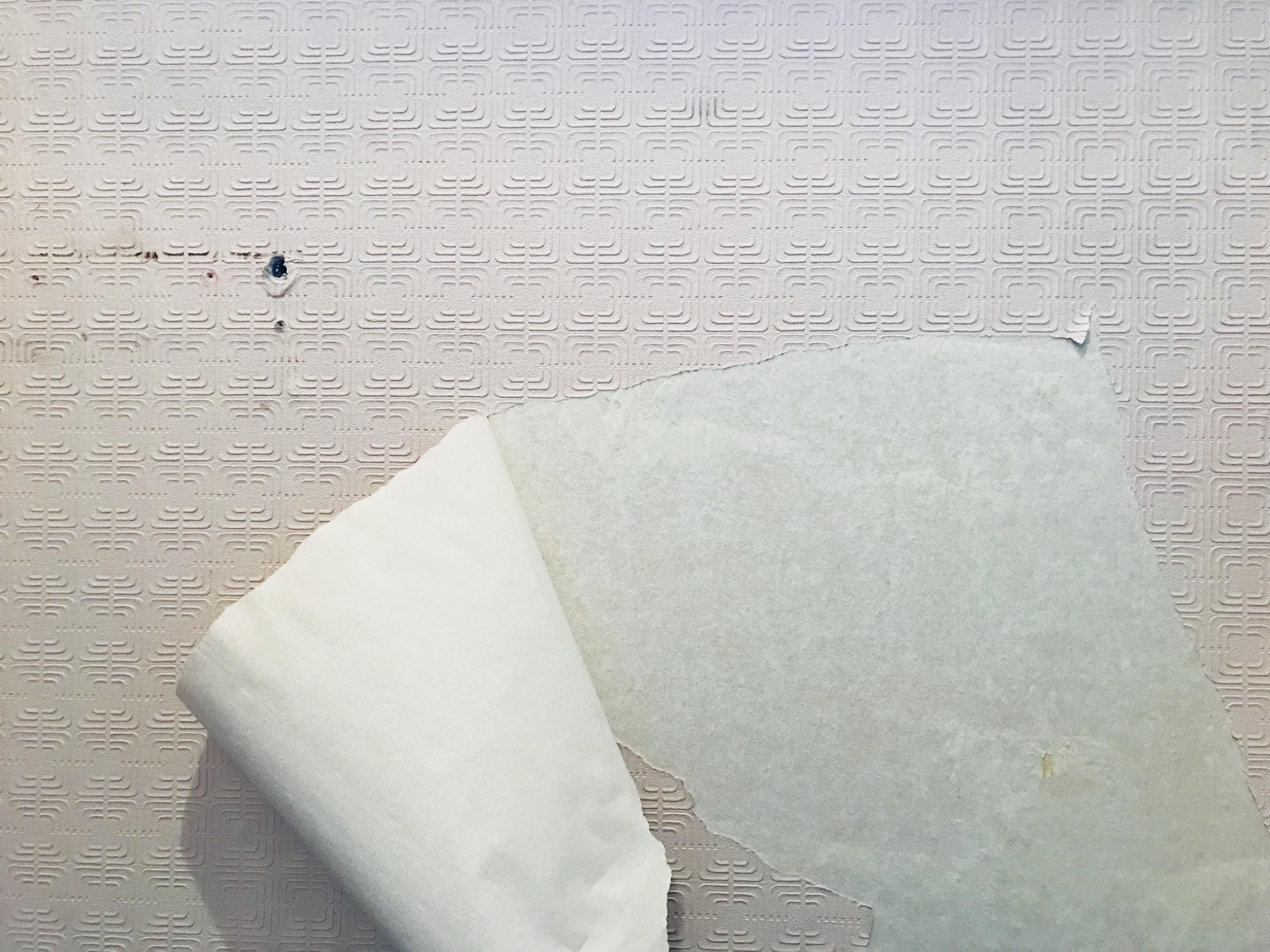 古い壁紙を剥がす