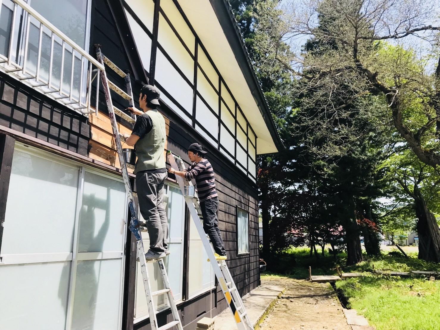 古民家の外壁塗装 背面