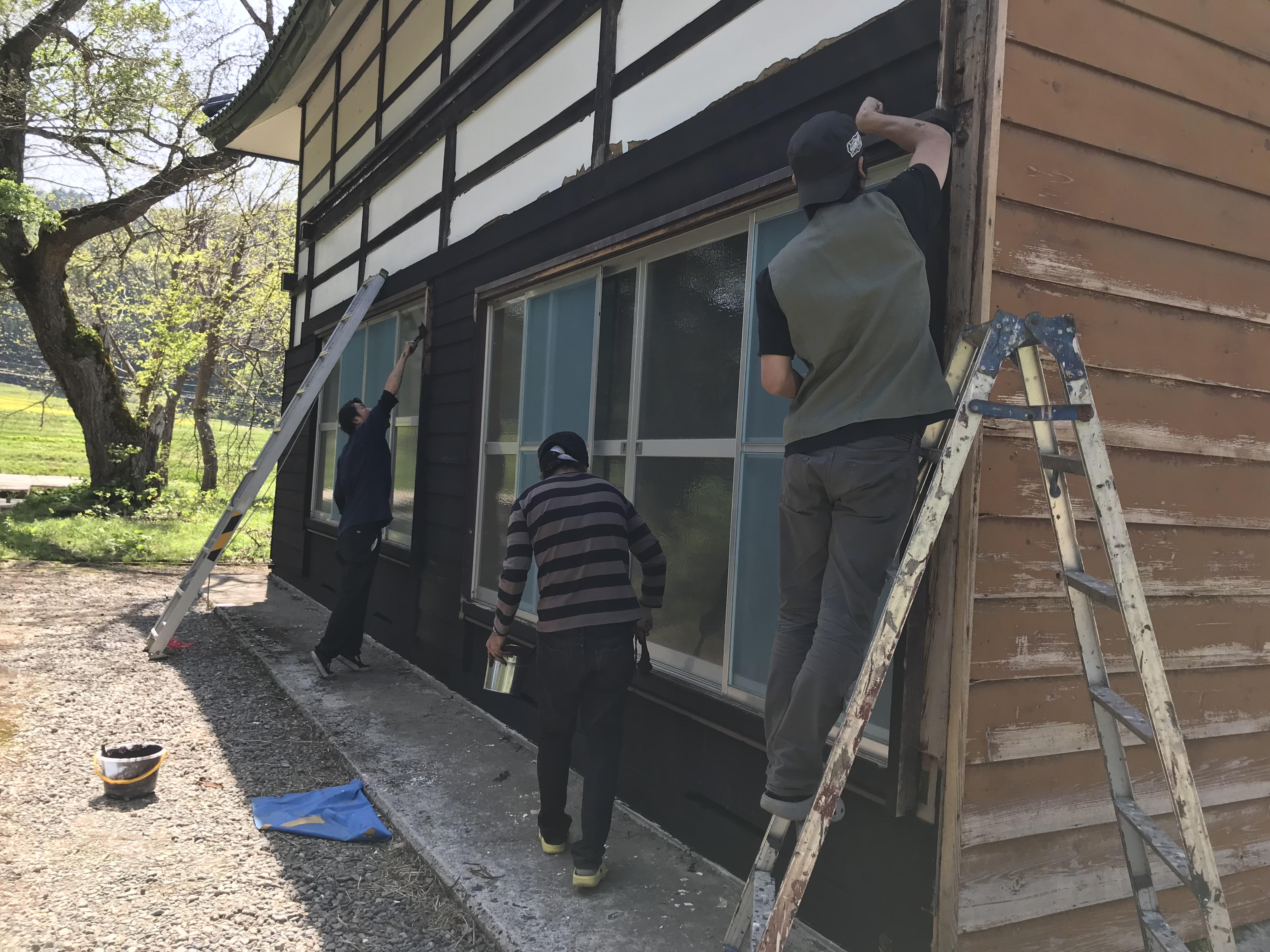 古民家の塗装 左側面