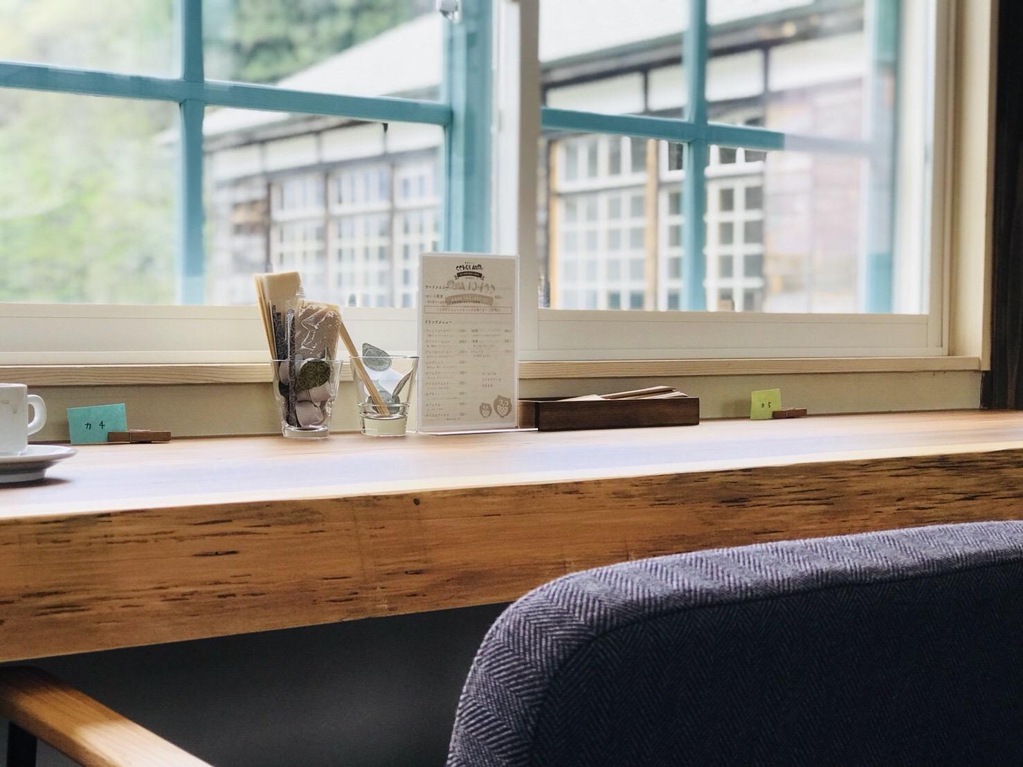 蕎麦カフェ スコラの2階カウンター