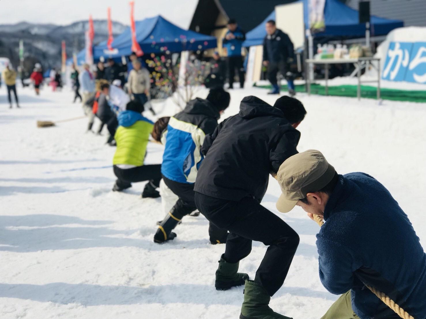 雪の上で綱引き体験
